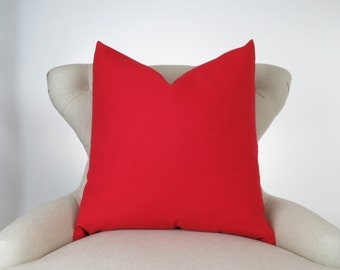 Throw Pillow Cover, Decorative Cushion, Euro Sham, Accent, Plain Pillow, Solid Color -MANY SIZES- Lipstick Red, Solid Red, Premier Prints