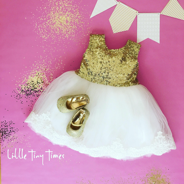 Gold sequin dress Baby girl birthday dress First birthday