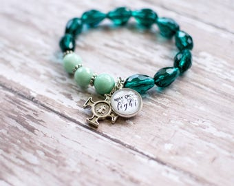 St Benedict Medal Rosary Bracelet, Holy Cross Be My Light Teal Rosary, Exorcism Cross Jewelry, Catholic Baptism Gift