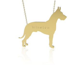 Gold Dog necklace ,Great dane dog necklace, animal jewelry ,personalized dog necklace, name necklace, engraved necklace