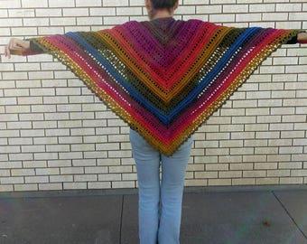 Chimera -  Crocheted Shawl in Subtle Gem Tones