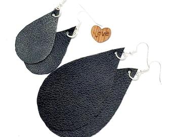 TEARDROP EARRINGS - Faux Leather BLACK Teardrop Earrings -  black - Statement Earrings - Vegan Leather Teardrop Earrings