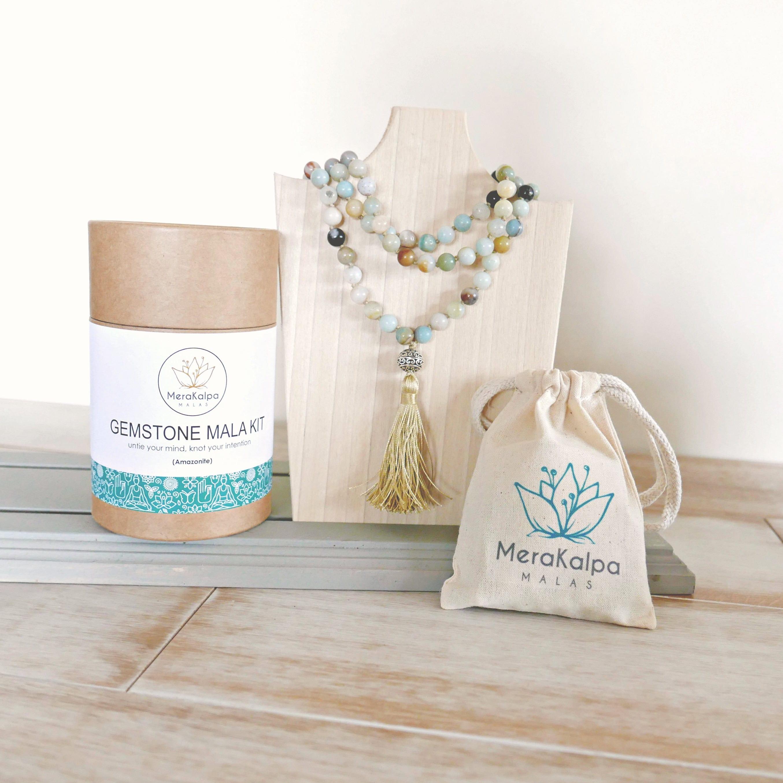 Amazonite Mala Kit - DIY Mala Kit - Make your Own Mala Necklace ...