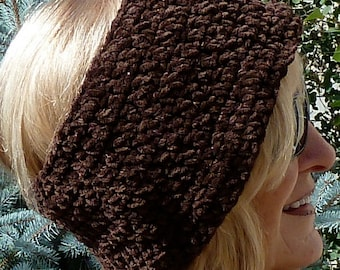 Unique winter headband, original brown headband for women or teens, unique crochet headband that's cozy and comfortable, gift for her, warm