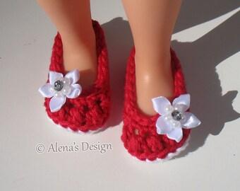 Crochet Pattern 189 - Crochet Shoes Pattern for 13 inch Doll Crochet Patterns Bow Doll's Shoes 13 inch Doll's Slippers Red White Blue