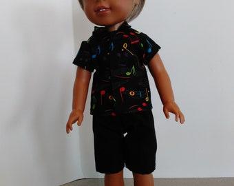 """14.5"""" boy doll shorts and shirt set"""