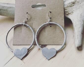 SALE was 59 heart hammered loop earrings handstamped sterling silver BELOVED
