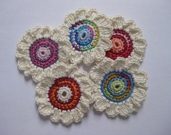 5 Large crochet Flowers 7-cream/Colorful