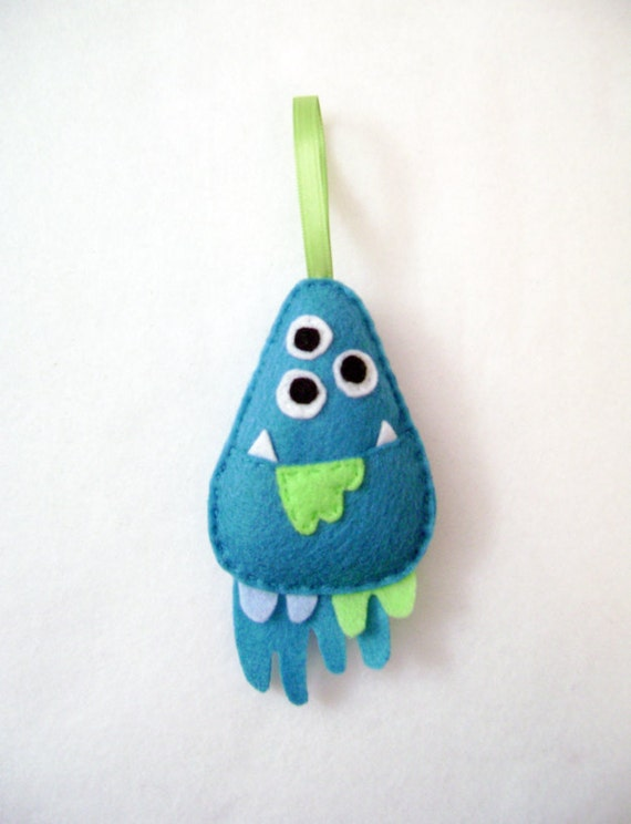Monster Ornament, Christmas Ornament, Donald the Drippy Monster, Gift Topper, Felt Animals