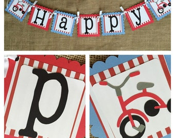 Bicycle Birthday Banner, Bicycle Party Banner, Trike Birthday Banner, Vintage Bicycle Party, Bicycle Party Supplies