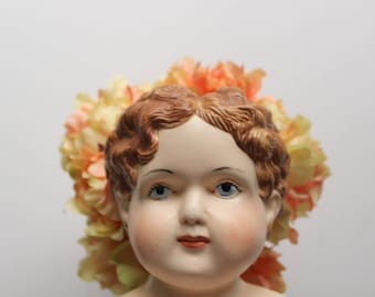 Vintage Porcelain Doll Bust Head With Blue Eyes 1960s