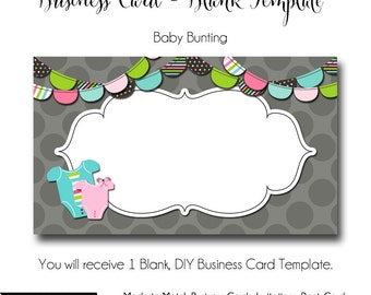 Baby business cards etsy dyi blank business card template baby bunting made to match etsy sets and facebook covers business card template made to match flashek Gallery
