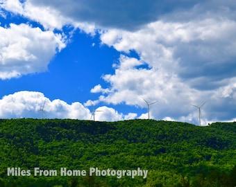 Hillside Wind Turbine Print + Mat
