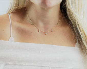 Delicate Necklace, Gold Necklace, Bridesmaid Necklace, Layering Necklace, Choker Necklace, Dainty Jewelry Necklace, Everyday Necklace