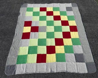 Felted Cashmere Blanket/Throw/Quilt in Grey, Green, Yellow, Red