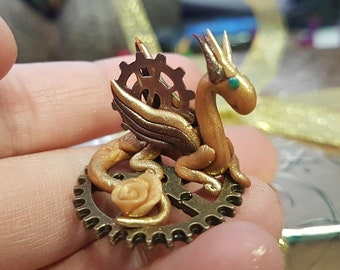 Steampunk Bronze and Golden Miniature Dragon