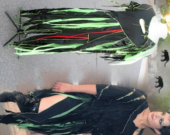 Toxic Zombie Dress S - XL - Black lime & satin tatters OOAK Womans Halloween Zombie Dress upcycled clothing adult Halloween Costume absinthe