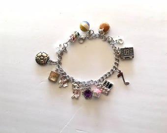Silver Charm Bracelet, 15 Silver Charms, .925 Silver Charm, Double Link Charm Bracelet