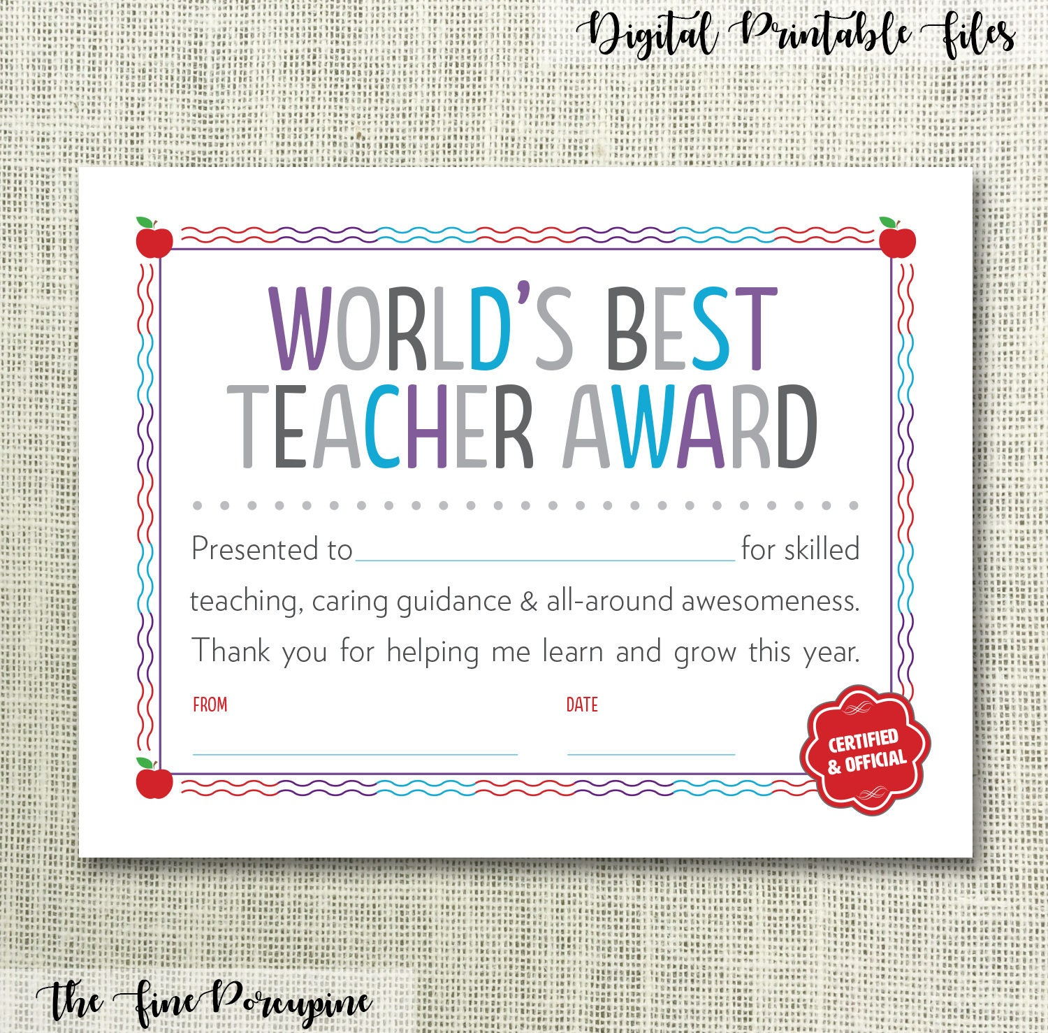 my best teacher award Give the ultimate thank-you to the teacher who inspired you by proposing him or her for the award how to submit a candidate for the award eligibility.
