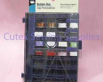 Dritz Plastic Bobbin Box - Holds 32 Sewing Machine Bobbins