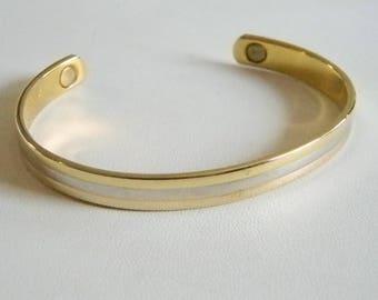 Vintage Retro Signed 24K Electro Plated Cuff Bracelet
