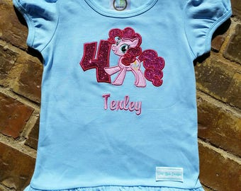 Girls Pony Pinkie Pie Appliquéd Shirt with Birthday Number and Embroidered Name