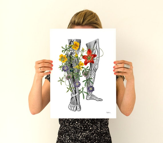 Flowery Legs Human Anatomy Art - Anatomical art prints, digital art, gifts for him art , gifts for doctor wall art, SKA096WA3