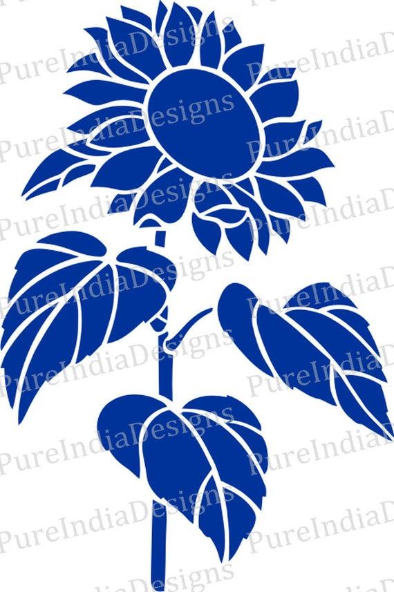 Download Sunflower Stencil Svg Sunflower Laser cutting Digital