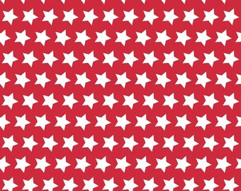 Red Stars Basic by Riley Blake Designs - Red and White Patriotic - Quilting Cotton Fabric - choose your cut