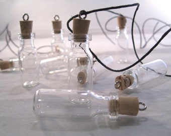 You Choose Style of Tiny Glass Bottles with Cork Stopper or Pendant Necklace on Black Hemp Cord