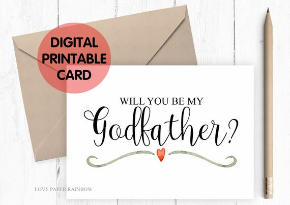 PRINTABLE will you be my godfather card, printable godfather card, godfather card printable, will you be my godfather printable card