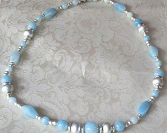Vintage Light Blue Silver Bead Necklace Jewelry Creationarts