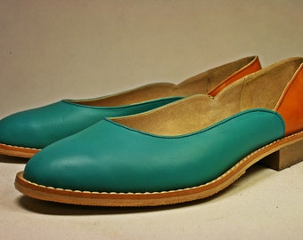 Azure and tan leather ballet flats