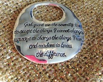 "Silver SERENITY PRAYER Charm Pendant 1-5/8"" Courage Change Wisdom"