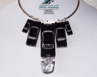 It's a Mad, Mad, Mad, Mad World car necklace with authentic It's a Mad4 World car glass