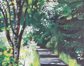 Acrylic Woodland Painting of Castle Bottom, Yateley