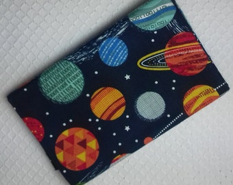 GALAXY Coupon cotton fabric patchwork designs of rockets in space on a blue background night 50 x 55 cm