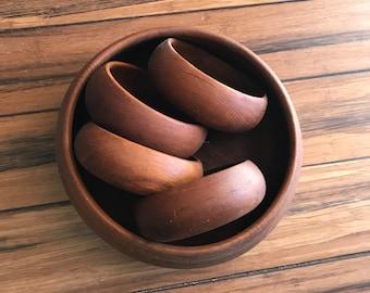 Vintage Teak Salad Bowl Set