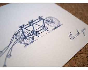 Thank You Note Cards for Tandem Bike Wedding Invitations - Bike Built for Two Thank You Cards - Wedding Thank You Cards - Tandem Bike