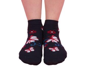 womens butterfly ankle sock