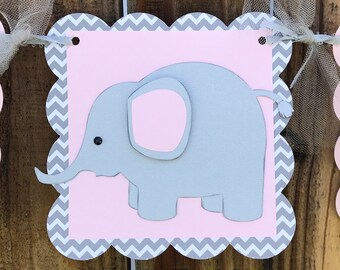 Elephant It's A Girl Banner