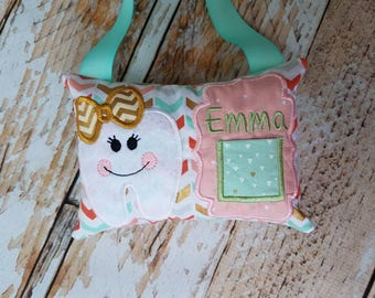 Personalized Tooth Fairy Pillow w/Front Pocket - Girl Tooth - Gold Coral Mint