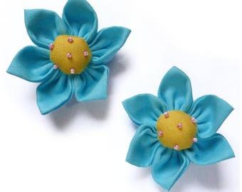 lot 2 5.5 cm light blue and yellow kanzashi flower - set no. 160707013