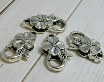 24x13mm - Large Lobster Clasp - Silver Lobster Clasp - Lobster Claw Clasp - Antique Silver Clasp - Flower Lobster Clasp - 2 or 4pcs - (B765)