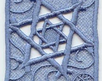 Star Hanukkah Chanukah Chanukkah Menorah Embroidered Free Standing Lace