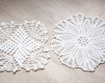 Two Vintage Small Hand crocheted Doilies, White Doilies