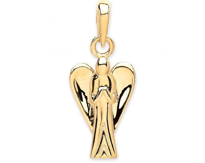 9ct Yellow Gold Guardian Angel Charm Pendant Hallmarked