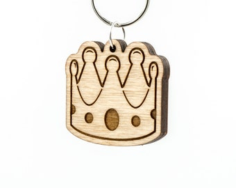 Crown Emoji Wooden Keychain - Royal Emoji Carved Wood Key Ring - King Emoji Wooden Engraved Charm- Queen Emoji