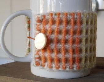100% Lambswool Woven Waffle / Honeycomb Mug Hug Cosy