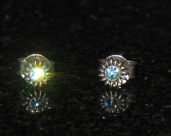 Vintage Sterling Silver Blue Stone Stud Earrings 925